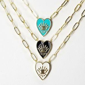 Jewelry - NEW Enamel Heart Evil Eye Paperclip Dainty Chain